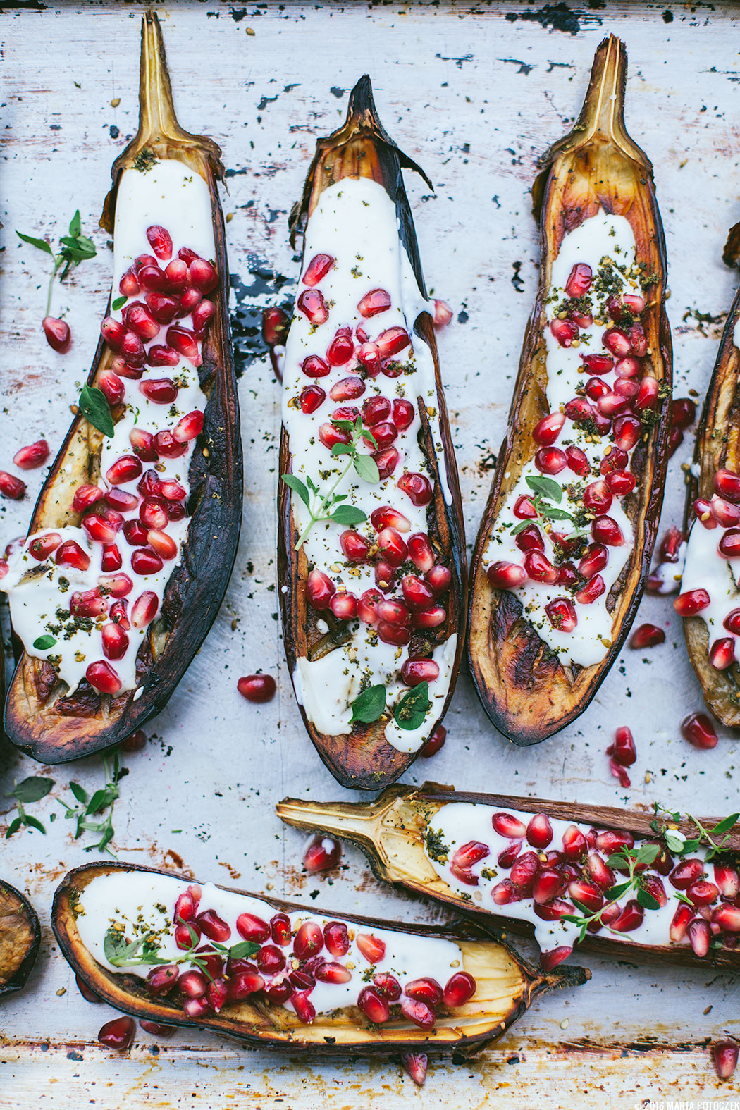aubergine with pomegranate