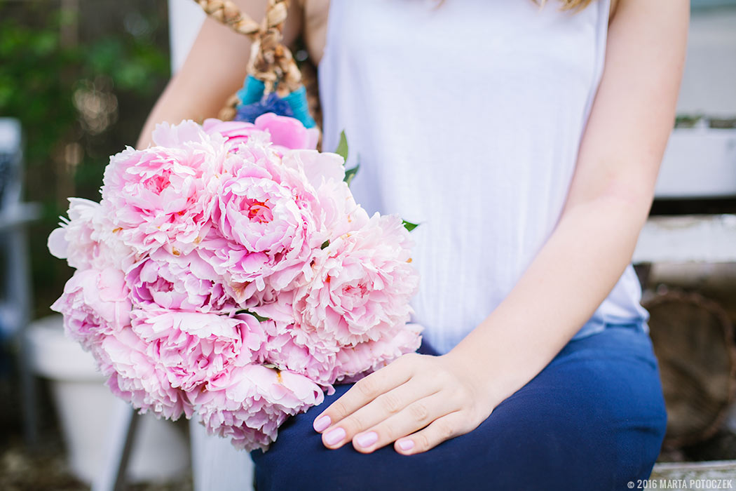 dip dye dress and peonies